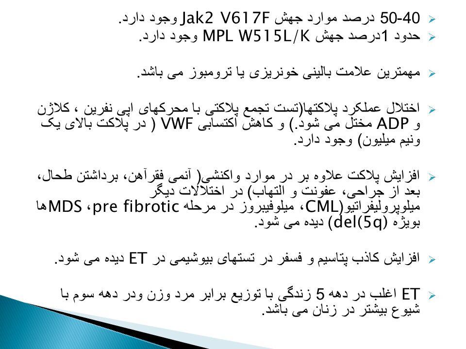 40-50 درصد موارد جهش Jak2 V617F وجود دارد.