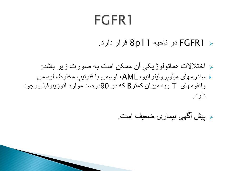 FGFR1 FGFR1 در ناحیه 8p11 قرار دارد.