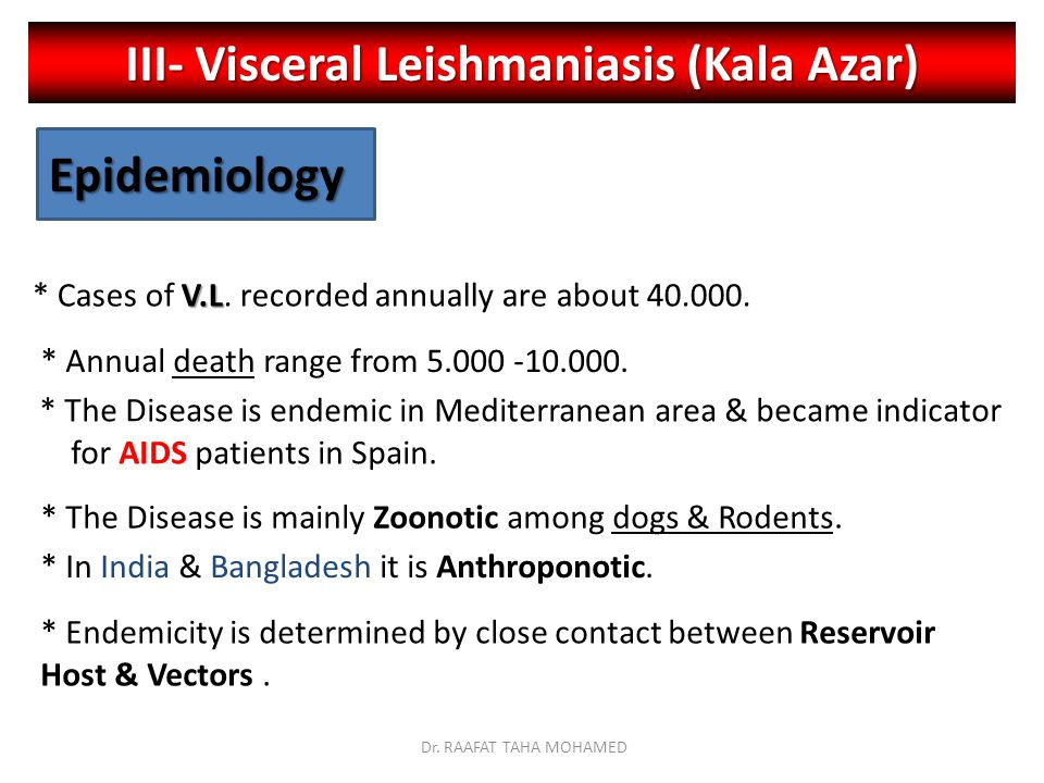 III- Visceral Leishmaniasis (Kala Azar)