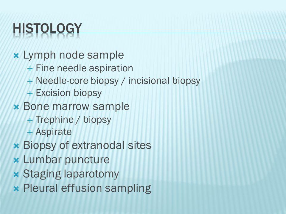 Histology Lymph node sample Bone marrow sample