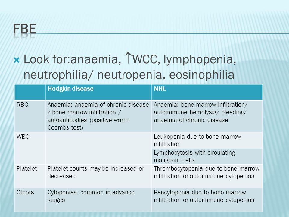 FBE Look for:anaemia, WCC, lymphopenia, neutrophilia/ neutropenia, eosinophilia. Hodgkin disease.