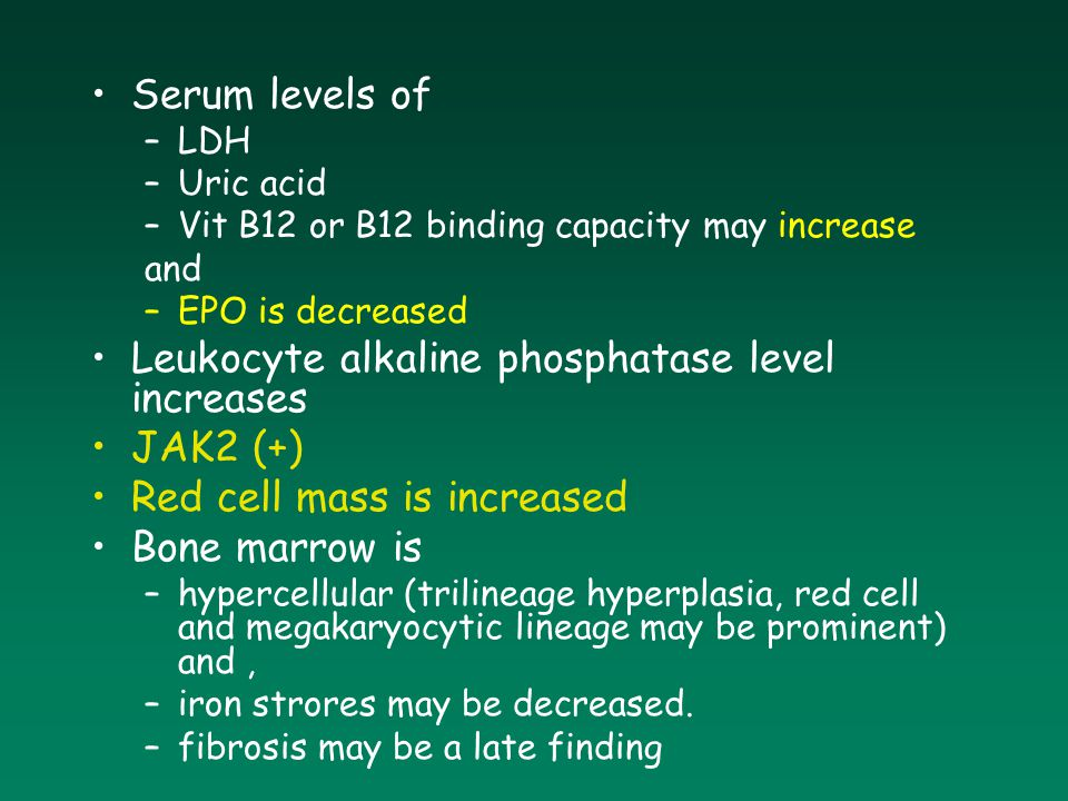 Leukocyte alkaline phosphatase level increases JAK2 (+)