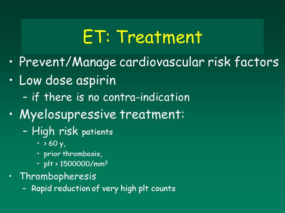 ET: Treatment Prevent/Manage cardiovascular risk factors