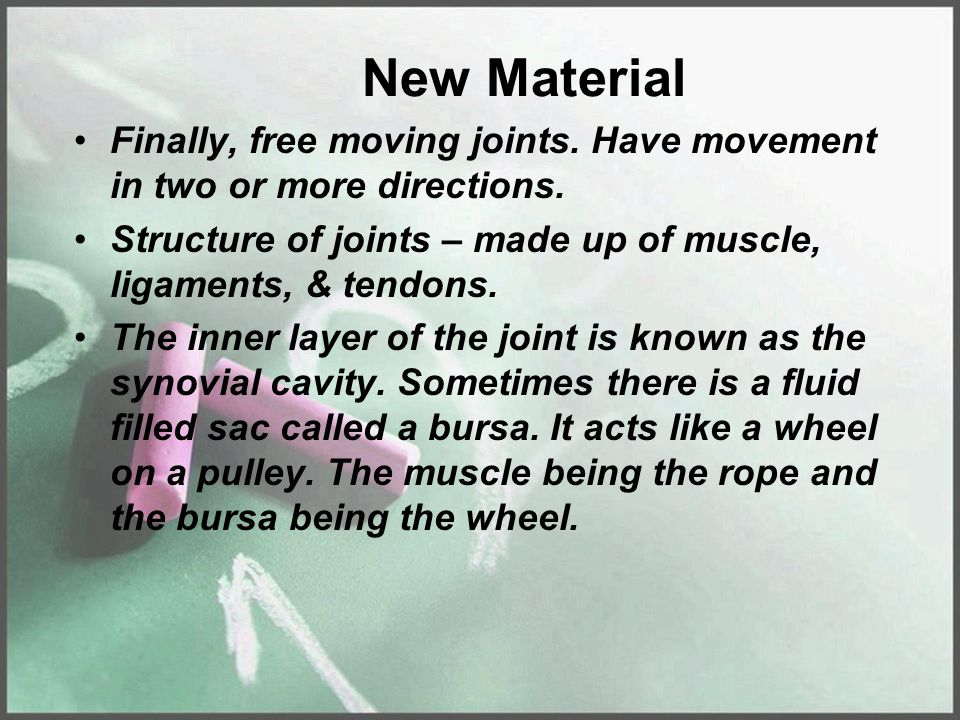 New Material Finally, free moving joints. Have movement in two or more directions. Structure of joints – made up of muscle, ligaments, & tendons.