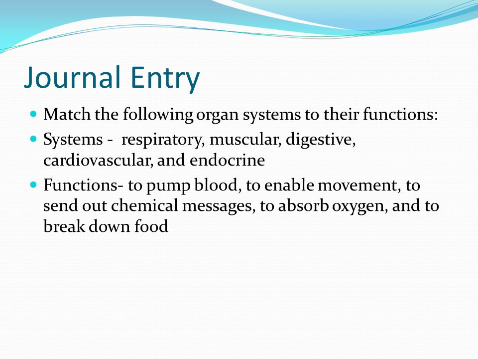 Journal Entry Match the following organ systems to their functions: