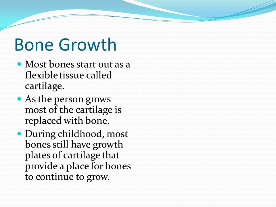 Bone Growth Most bones start out as a flexible tissue called cartilage. As the person grows most of the cartilage is replaced with bone.