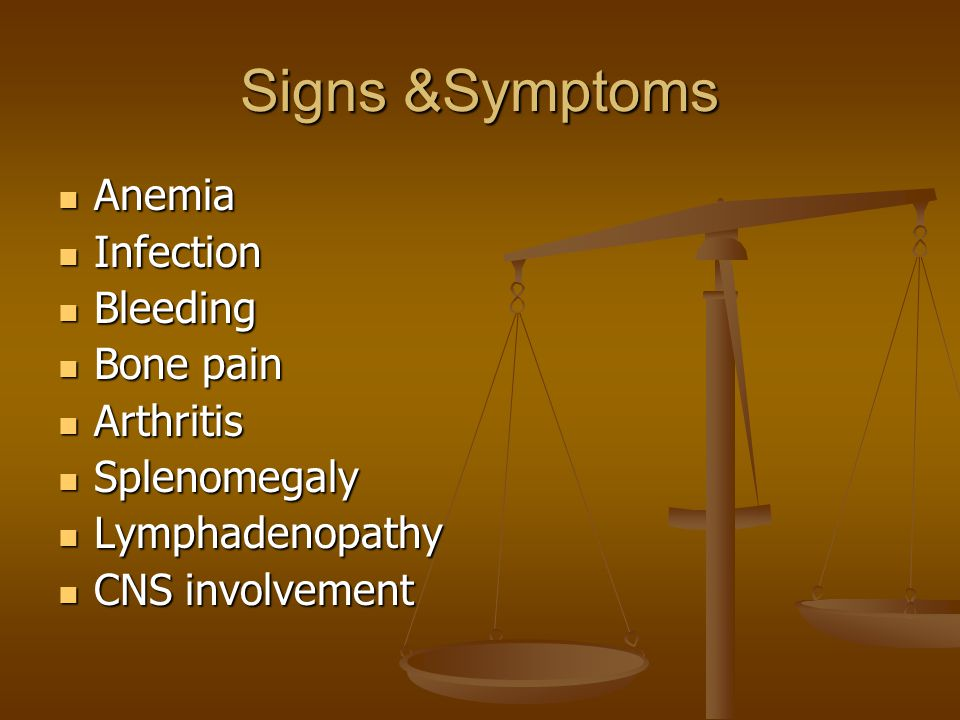Signs &Symptoms Anemia Infection Bleeding Bone pain Arthritis