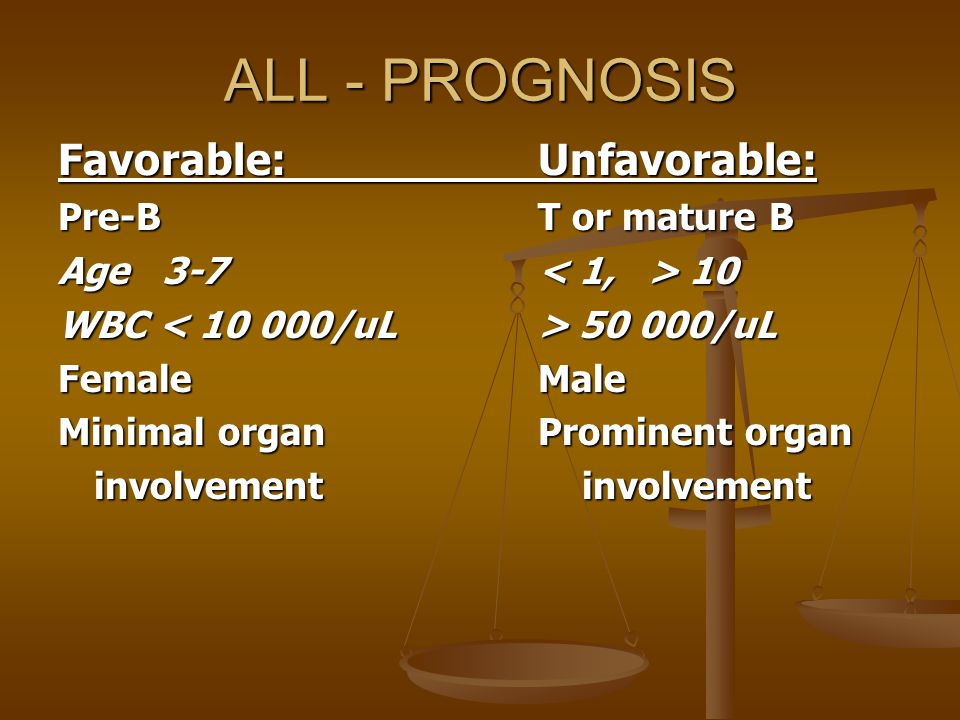 ALL - PROGNOSIS Favorable: Unfavorable: Pre-B T or mature B