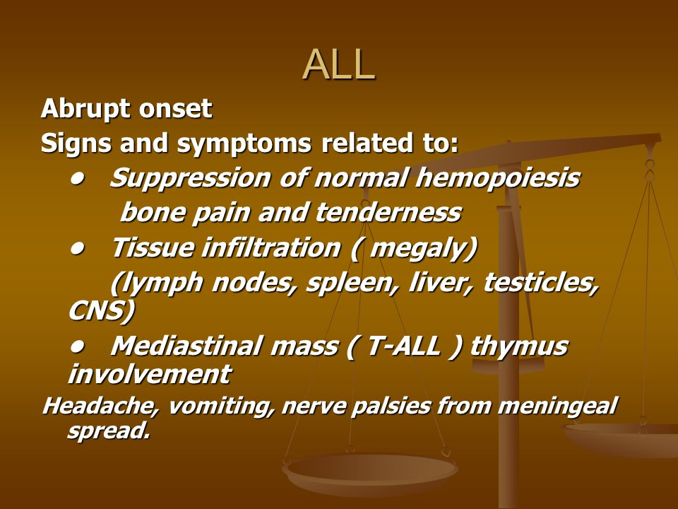 ALL Abrupt onset Signs and symptoms related to: