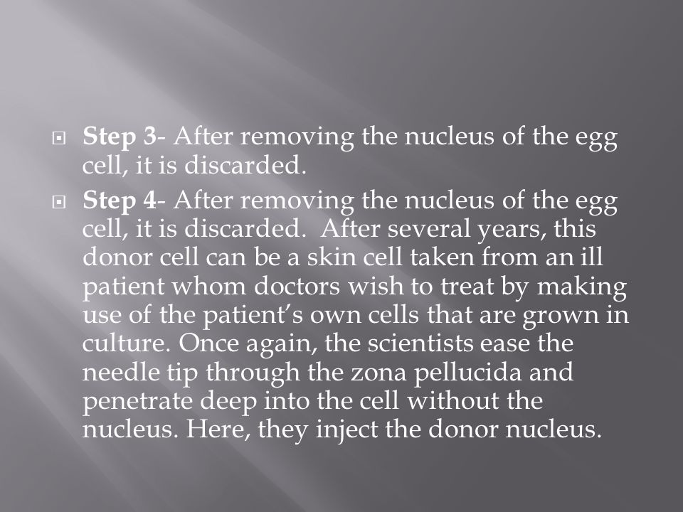 Step 3- After removing the nucleus of the egg cell, it is discarded.