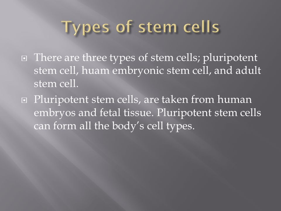Types of stem cells There are three types of stem cells; pluripotent stem cell, huam embryonic stem cell, and adult stem cell.
