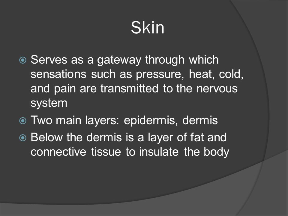 Skin Serves as a gateway through which sensations such as pressure, heat, cold, and pain are transmitted to the nervous system.