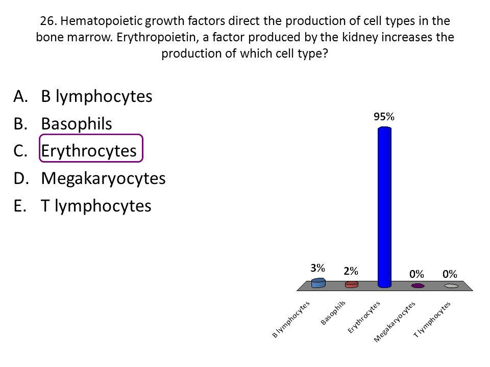 B lymphocytes Basophils Erythrocytes Megakaryocytes T lymphocytes :00