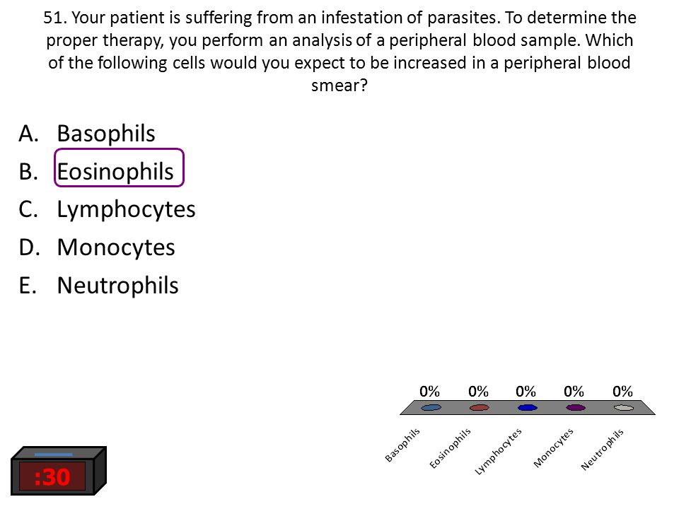 Basophils Eosinophils Lymphocytes Monocytes Neutrophils :30