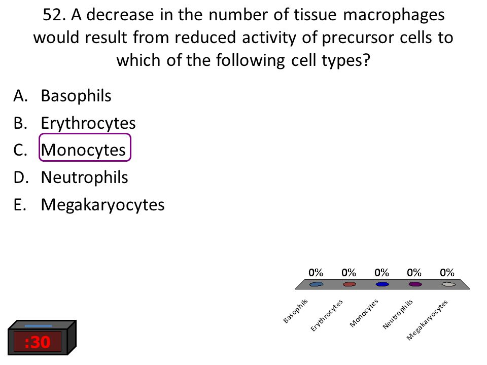 52. A decrease in the number of tissue macrophages would result from reduced activity of precursor cells to which of the following cell types