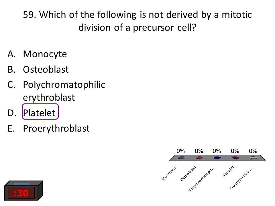 Polychromatophilic erythroblast Platelet Proerythroblast
