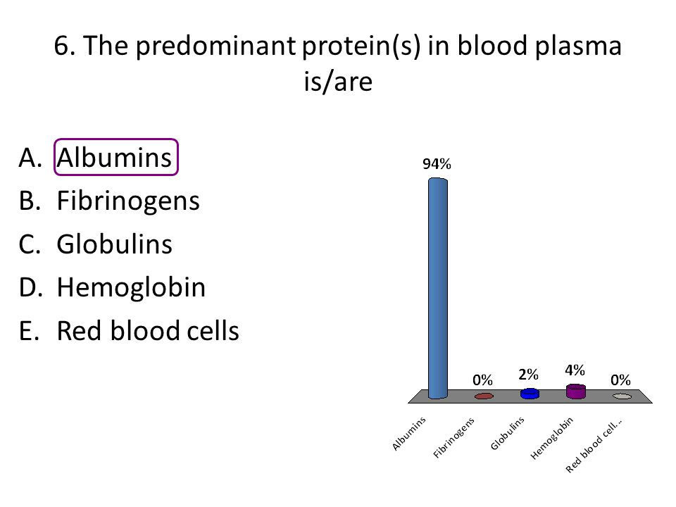 6. The predominant protein(s) in blood plasma is/are
