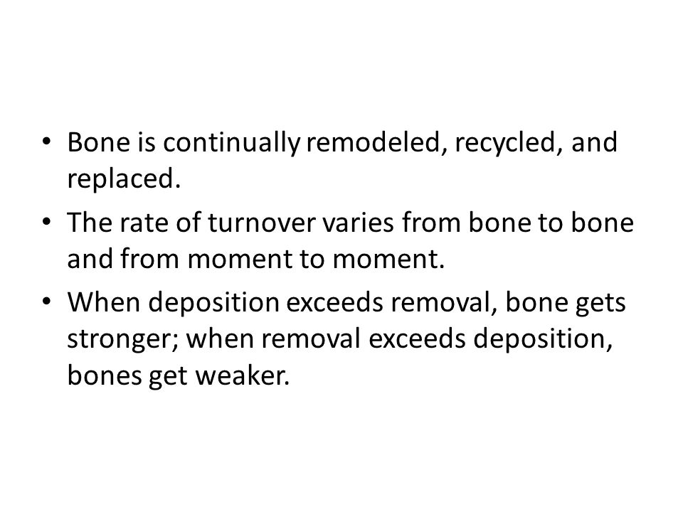 Bone is continually remodeled, recycled, and replaced.