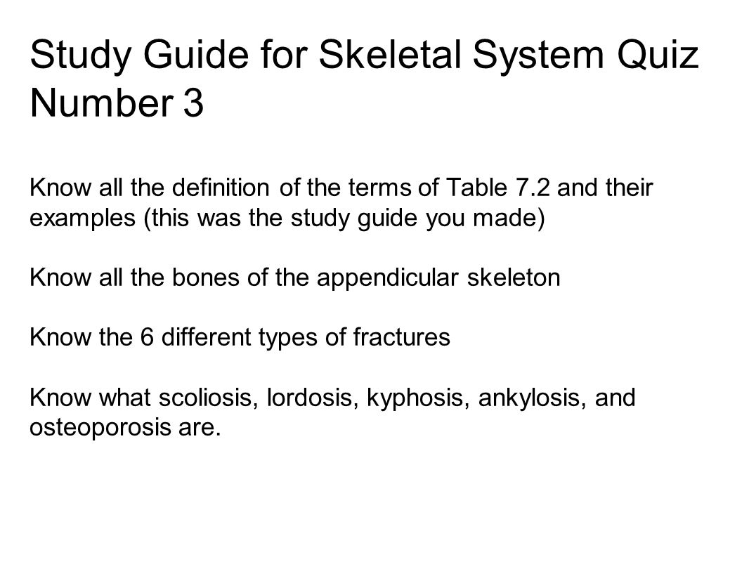 the skeletal system study guide Study guide over the skeletal system intended to help students review before the exam.