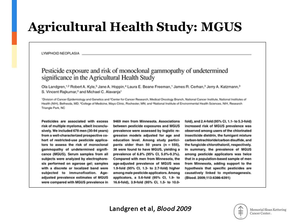 Agricultural Health Study: MGUS