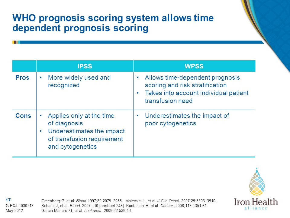 WHO prognosis scoring system allows time dependent prognosis scoring