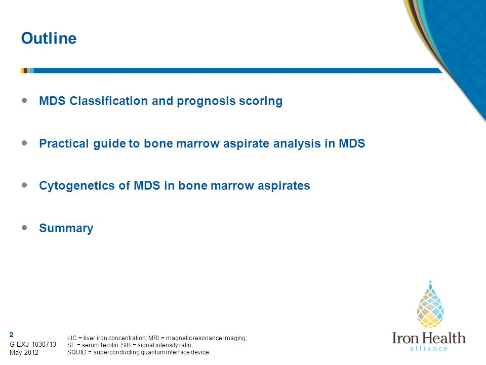 Outline MDS Classification and prognosis scoring
