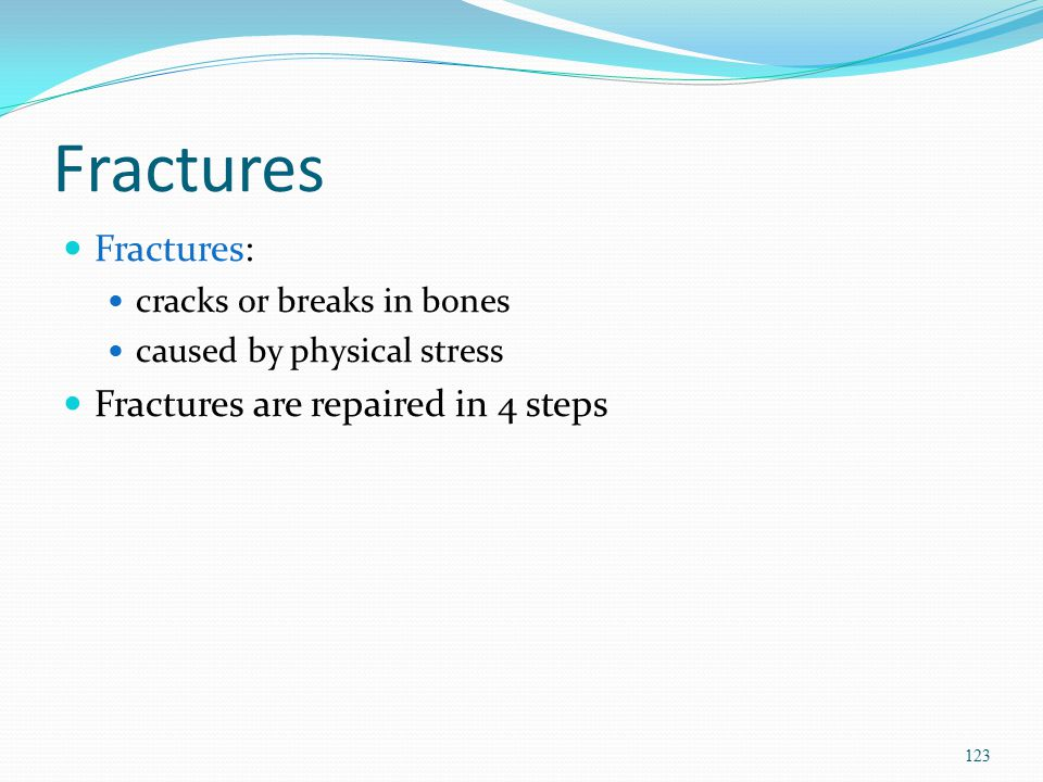 Fractures Fractures: Fractures are repaired in 4 steps
