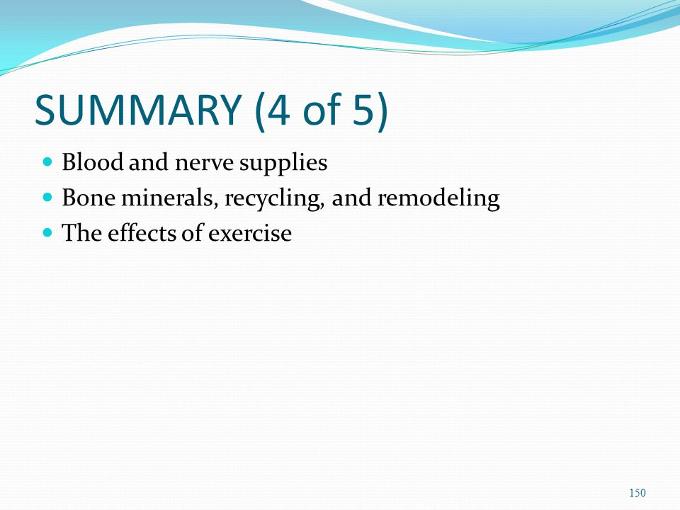 SUMMARY (4 of 5) Blood and nerve supplies