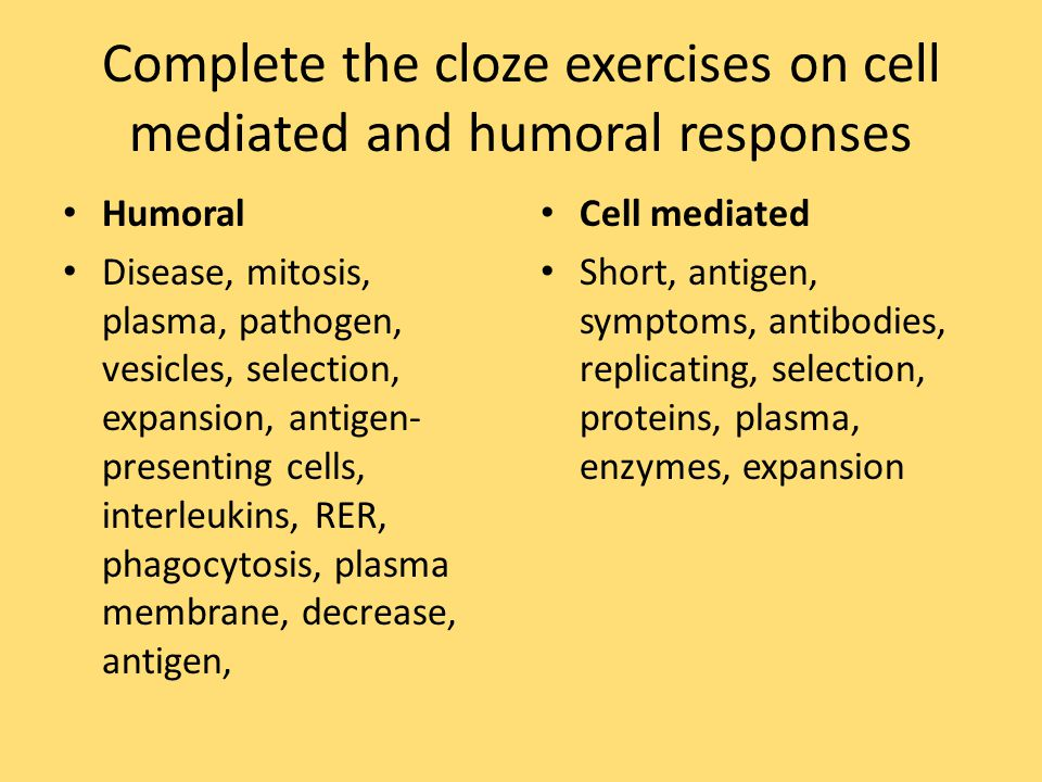 Complete the cloze exercises on cell mediated and humoral responses
