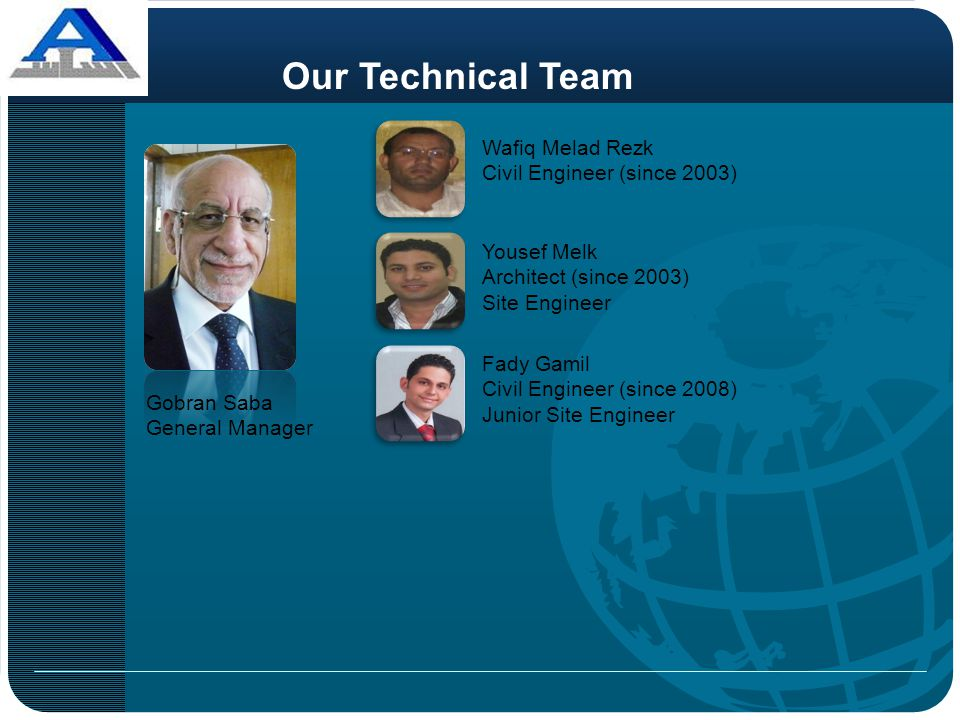 Our Technical Team Wafiq Melad Rezk Civil Engineer (since 2003)