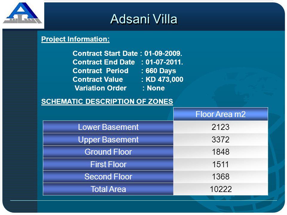 Adsani Villa Floor Area m2 Lower Basement 2123 Upper Basement 3372