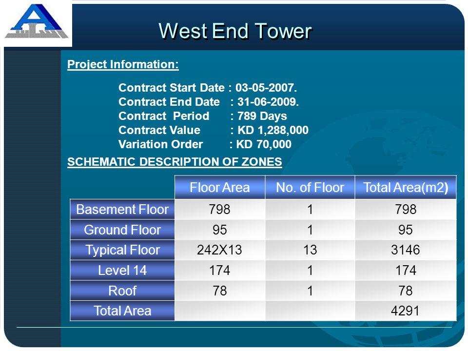 West End Tower Floor Area No. of Floor Total Area(m2) Basement Floor