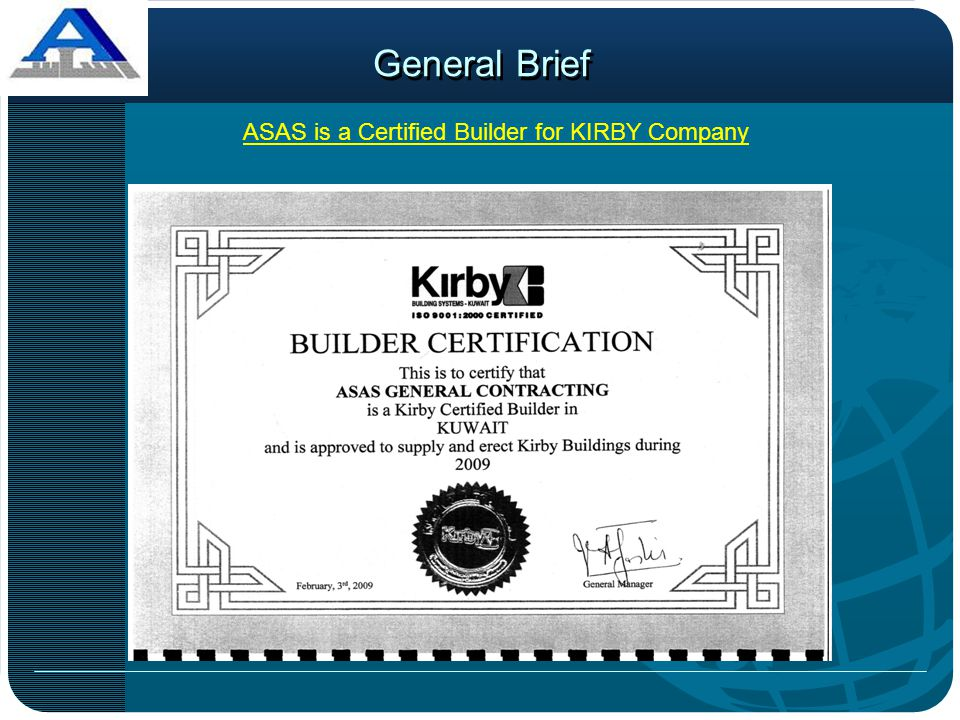ASAS is a Certified Builder for KIRBY Company