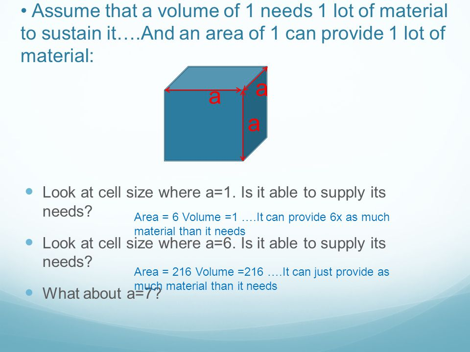 Assume that a volume of 1 needs 1 lot of material to sustain it…