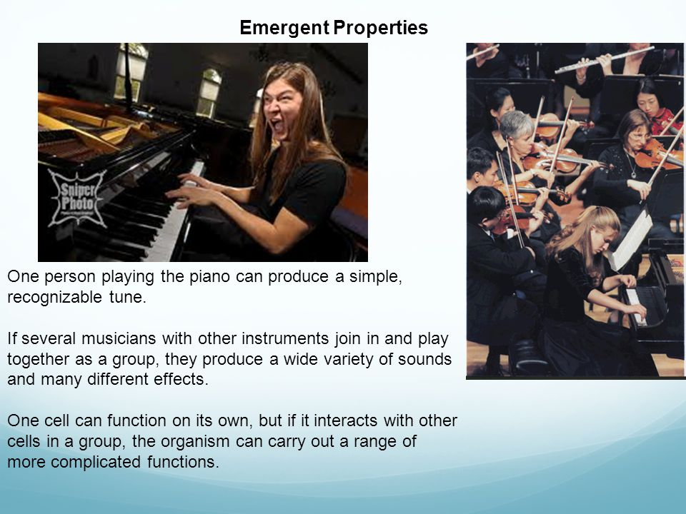 Emergent Properties One person playing the piano can produce a simple, recognizable tune.