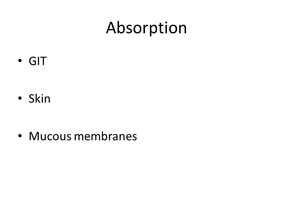 Absorption GIT Skin Mucous membranes