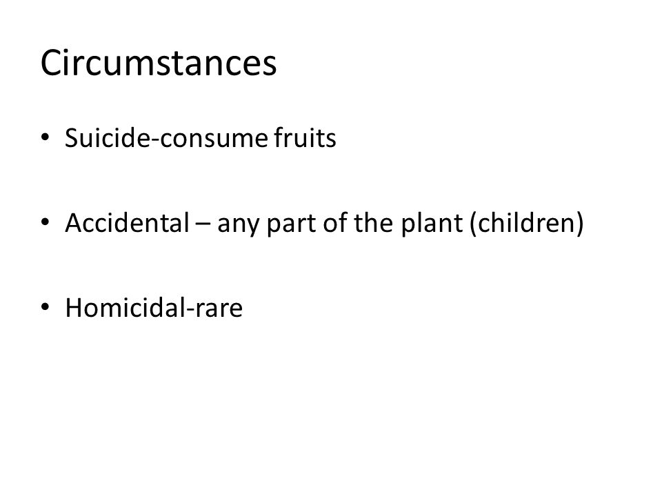 Circumstances Suicide-consume fruits