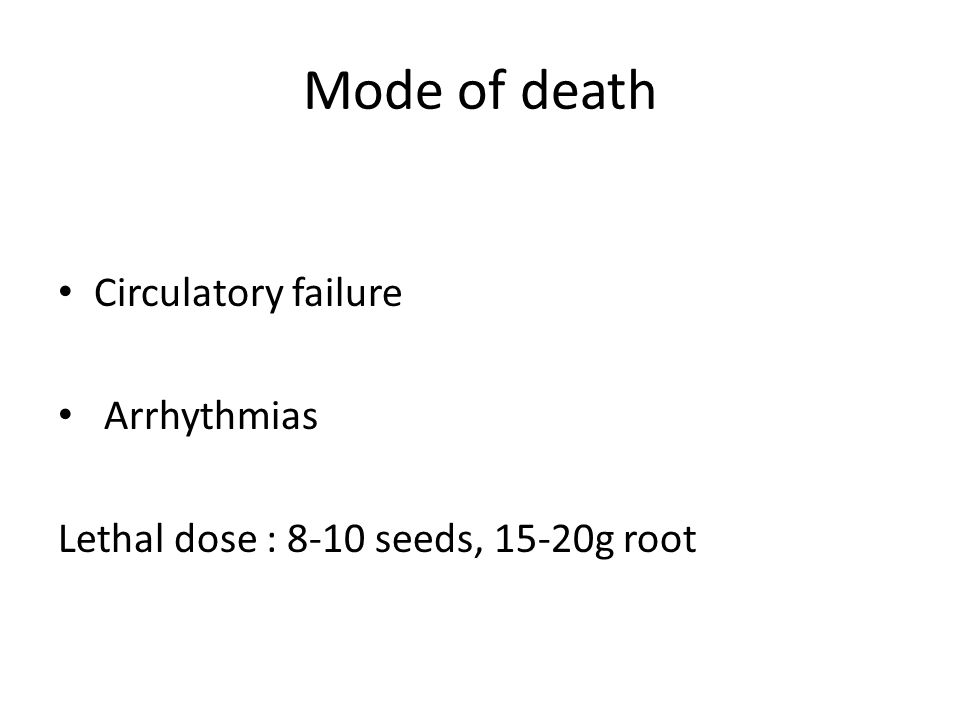 Mode of death Circulatory failure Arrhythmias