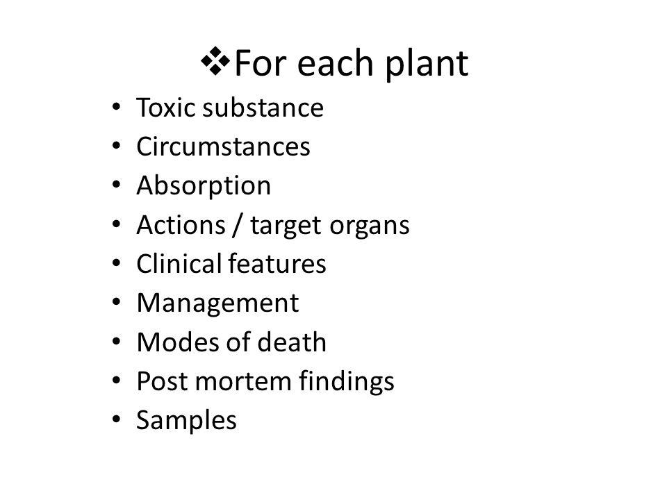 For each plant Toxic substance Circumstances Absorption