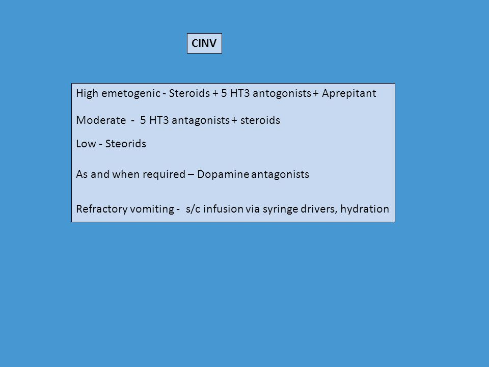 CINV High emetogenic - Steroids + 5 HT3 antogonists + Aprepitant. Moderate - 5 HT3 antagonists + steroids.