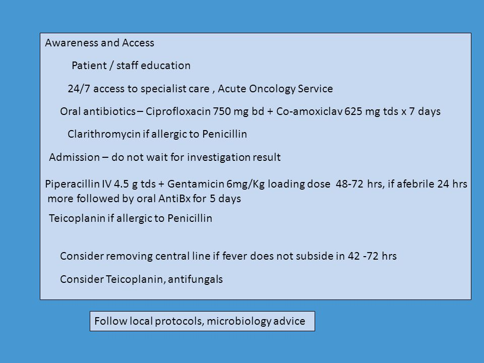 Awareness and Access Patient / staff education. 24/7 access to specialist care , Acute Oncology Service.