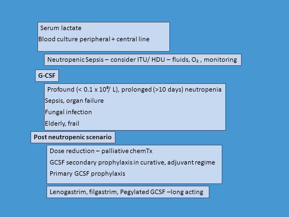 Serum lactate Blood culture peripheral + central line. Neutropenic Sepsis – consider ITU/ HDU – fluids, O₂ , monitoring.