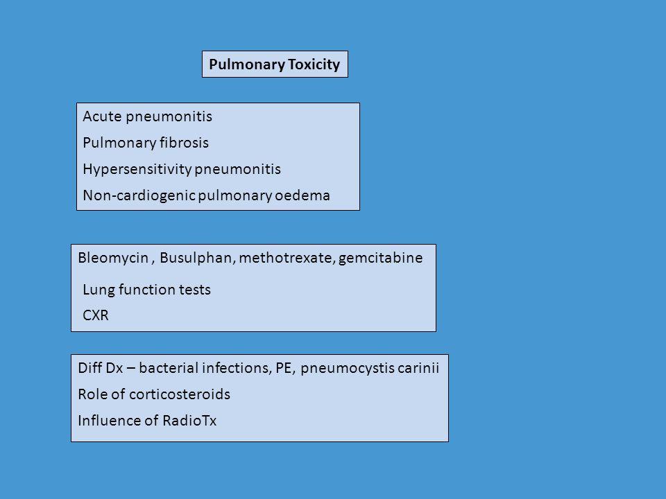 Pulmonary Toxicity Acute pneumonitis. Pulmonary fibrosis. Hypersensitivity pneumonitis. Non-cardiogenic pulmonary oedema.