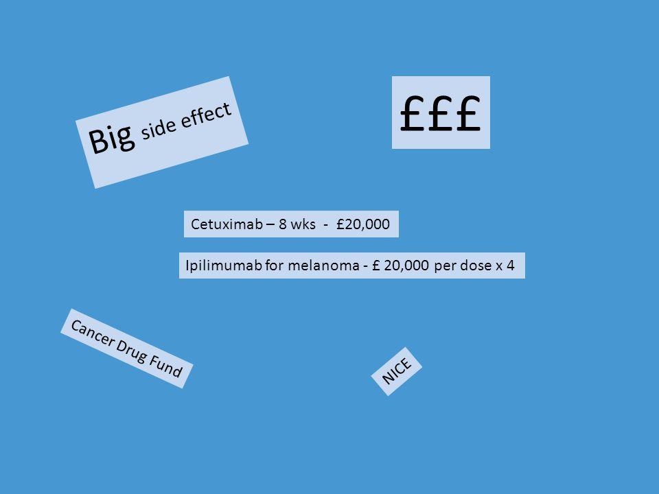 £££ Big side effect Cetuximab – 8 wks - £20,000