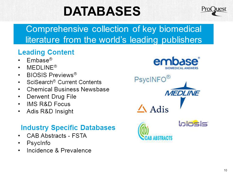 DATABASES Comprehensive collection of key biomedical literature from the world's leading publishers.