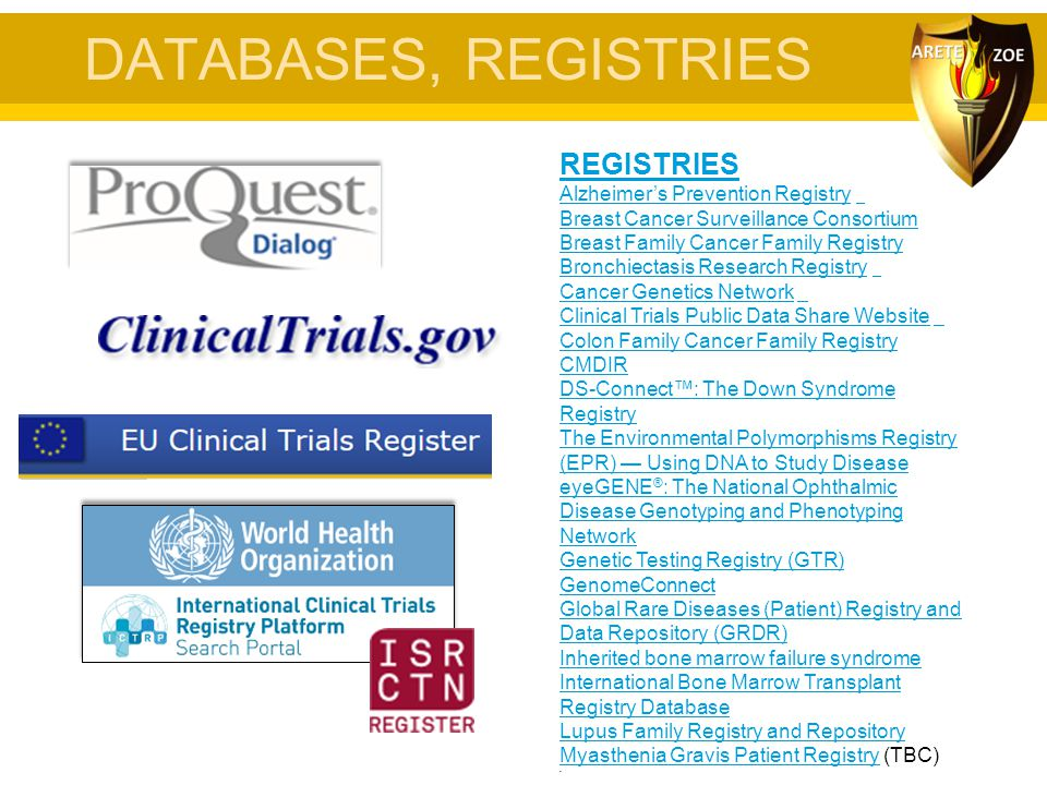 DATABASES, REGISTRIES REGISTRIES Alzheimer's Prevention Registry