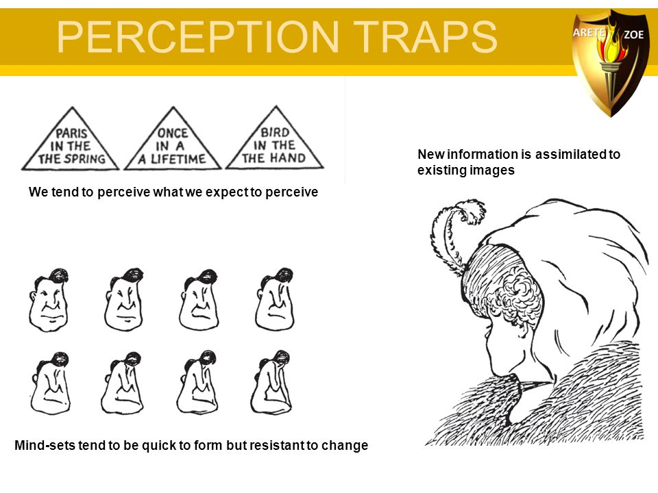 PERCEPTION TRAPS New information is assimilated to existing images