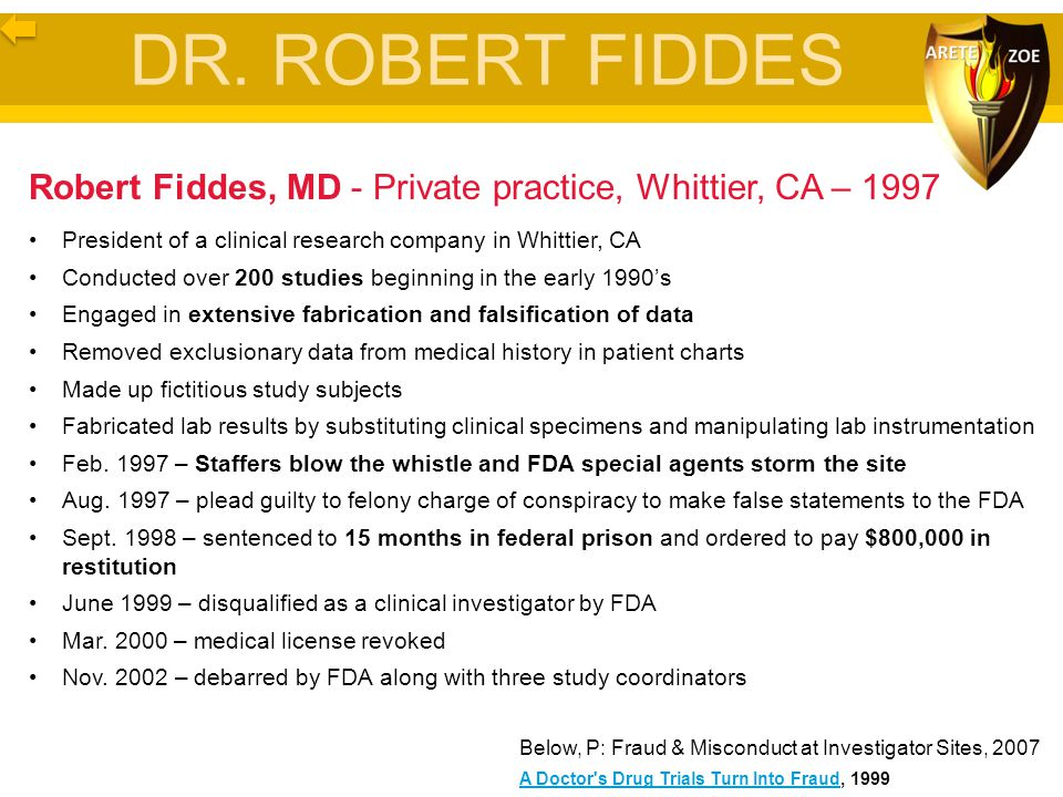 DR. ROBERT FIDDES Robert Fiddes, MD - Private practice, Whittier, CA – 1997. President of a clinical research company in Whittier, CA.