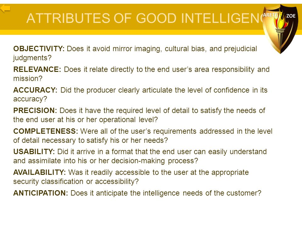 ATTRIBUTES OF GOOD INTELLIGENCE