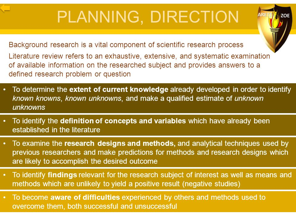 PLANNING, DIRECTION Background research is a vital component of scientific research process.